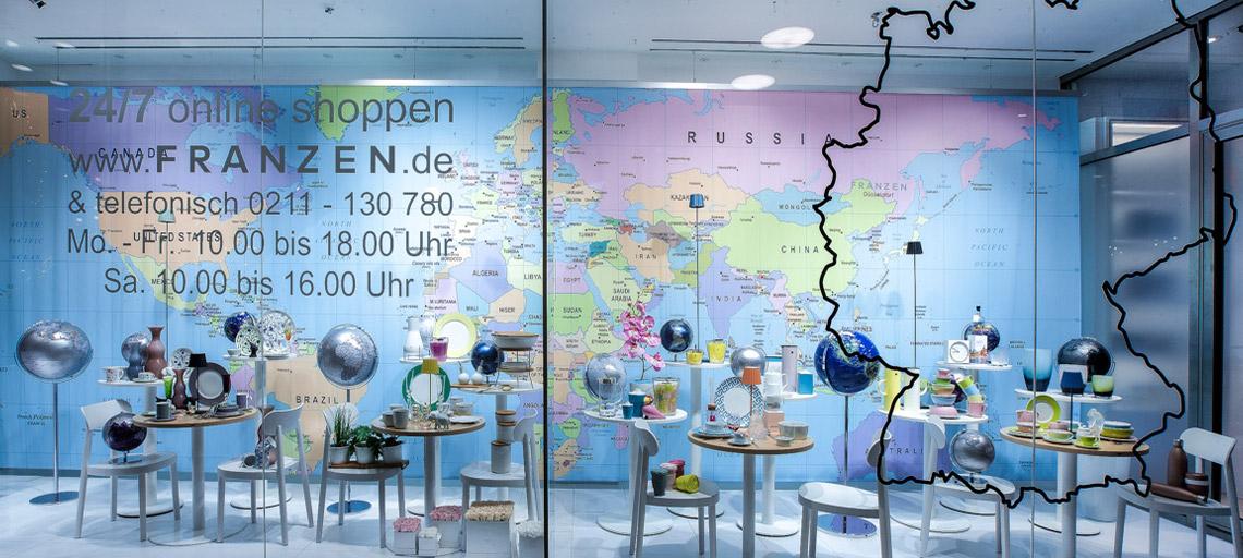 """Frühlingsinspirationen für Heim & Garten: Schaufenster """"Around the world"""" bei Franzen auf der Königsallee 42"""