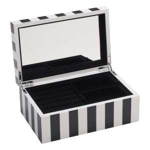 Schmuckbox klein Stripes schwarz/weiß