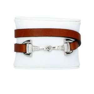Armband Ingrid Klimke Edelstahl/Zirkonia, Kalbsleder/cognac