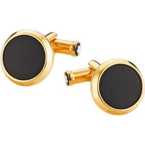 Manschettenknöpfe Onyx schwarz, gelbgold