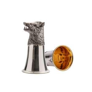 Tierkopfbecher Wildschwein H 13 cm Sterling Silber