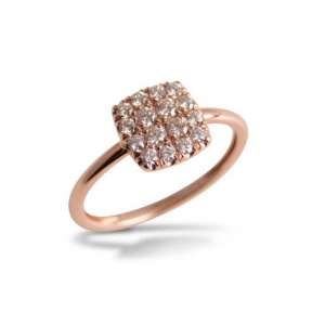 Ring eckig Roségold 750 Diamanten 0,32 ct G SI W53