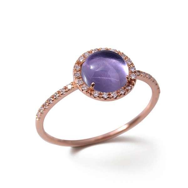 Ring Roségold 750 Amethyst 1,5 ct Diamanten 0,13 ct G SI W53