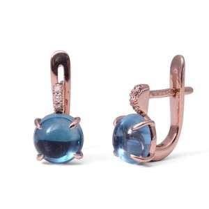 Ohrhänger Rosegold 750/- LondonTopas 3,65 ct Diamanten 0,03 ct G SI