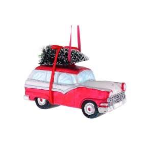 Hänger Auto m.Weihnachtsbaum rot/weiss