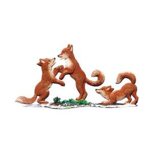 Fuchs Kinder im Schnee 9x9 cm