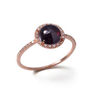 Ring Roségold 750/- Granat 1,9 ct Diamanten 0,13 ct G SI W54