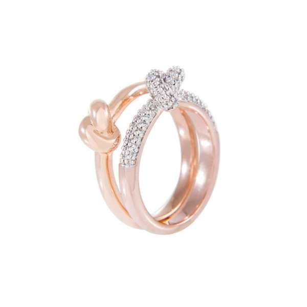 Ring-Set Knoten Zirkonia Bronze plattiert