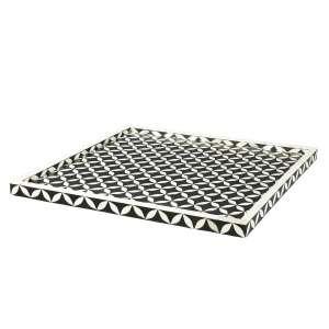 Tablett Leigh 50x50 cm schwarz/weiß