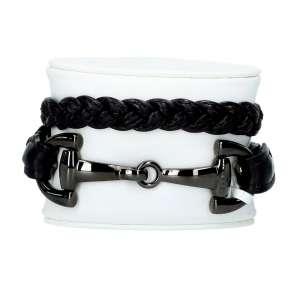 Armband geflochten Edelstahl, schwarz trense/braun