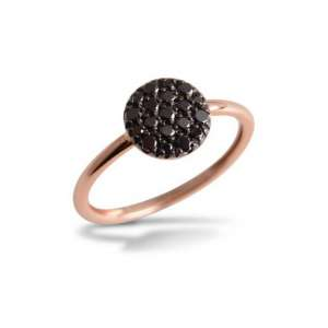 Ring Rosegold 750/- schwarze Diamaten 0,35 ct W55