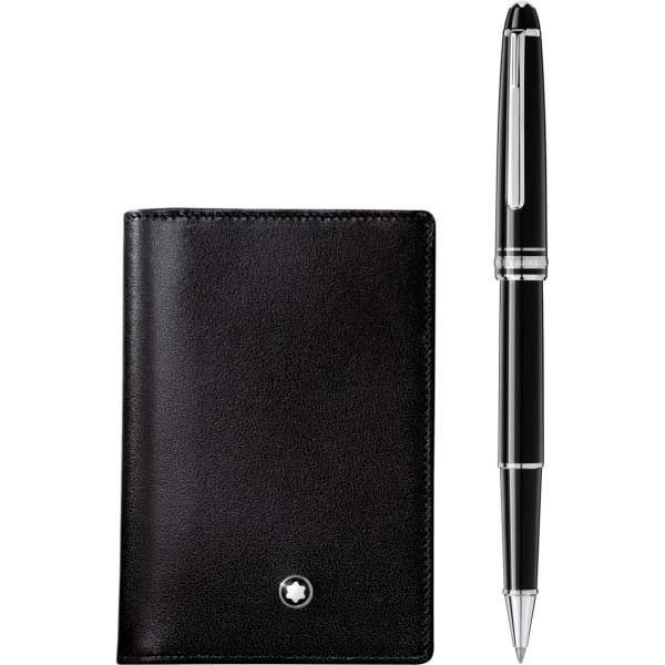 Set With Meisterstück Platinum Classique Rollerball And Business Card Holder With Gusset