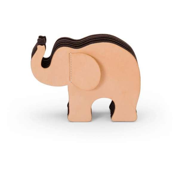 Elefant mittel Naturleder mit 12 Buntstiften