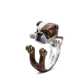 Ring Englische Bulldogge 925/- Sterling Silber S