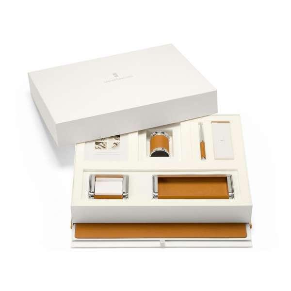 Schreibtischaccessoires-Set cognac