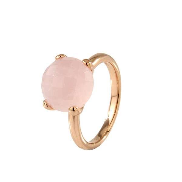 Ring Cocktail Rosenquarz Bronze plattiert
