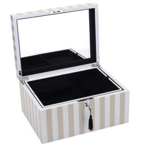 Schmuckbox mit Schloss Stripes beige/weiss groß