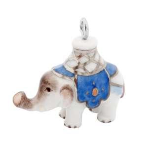 Anhänger Elefant aus Meissener Porzellan® Bunt und gold staffiert, Decke Blau, Öse in 18 K Weißgold, mit Kordel, H 3,4 cm