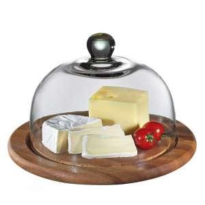 Käseglocke mit Glasdeckel, akazie 30 cm