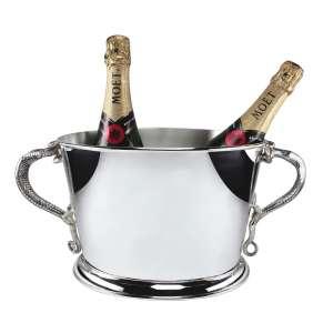 Wein-/Champagnerkühler Echse oval versilbert