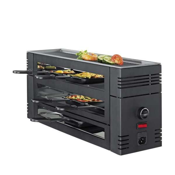 Pizza Raclette6 schwarz mit Alugrillplatte EU