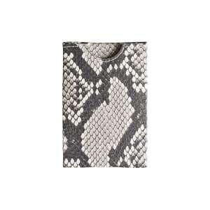 Kreditkartenetui RFID Reptilienleder schwarz/weiß
