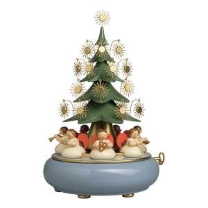 """Spieldose mit unter dem Baum sitzenden Engeln """"We Wish You a Merry Christmas"""""""