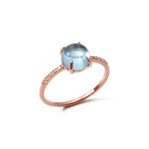Ring Roségold 750 Blautopas 1,90 ct Diamanten 0,05 ct G SI W54