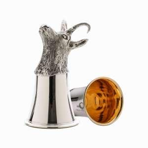 Tierkopfbecher Gemse H 12 cm Sterling Silber