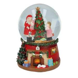 Schneekugel Santa, Mädchen & Baum