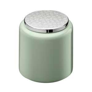 Teedose 13 cm grün versilbert