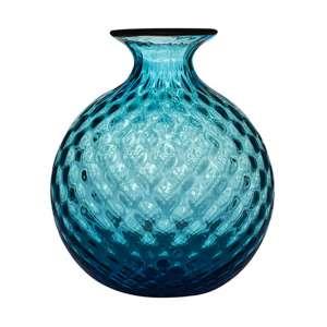 Vase 16,5 cm aquamarin/roter Faden