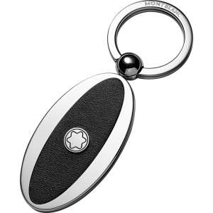 Schlüsselanhänger oval Metall/Leder, schwarz