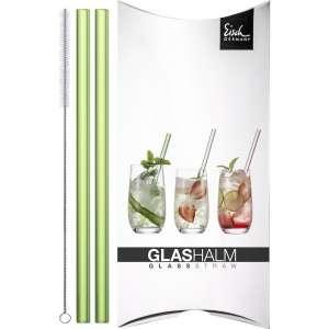 Glashalm-Set 2 Stck. grün + Bürste