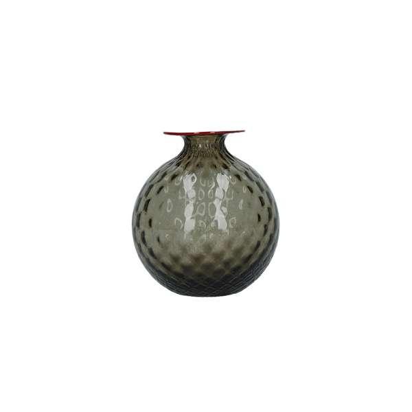 Vase 16,5 cm grau/roter Faden
