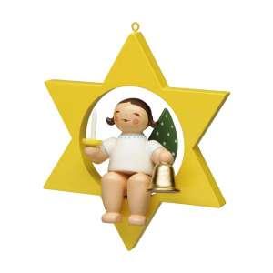 Engel m. Glocke und Kerze im Stern