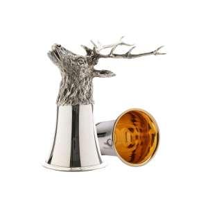 Tierkopfbecher Hirsch H 14 cm Sterling Silber