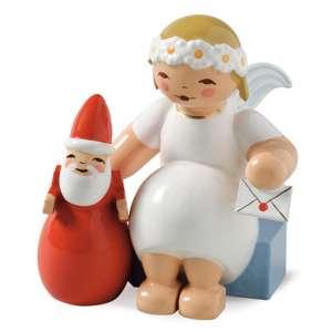 Margeritenengel, sitzend m. Weihnachtsmann