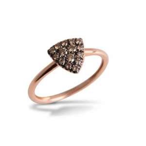 Ring Roségold 750/- braune Diamanten 0,32 ct W54