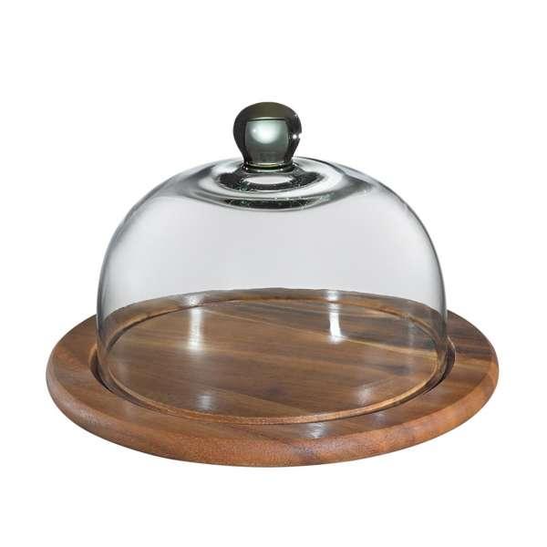 Käseglocke mit Glasdeckel, akazie 25 cm