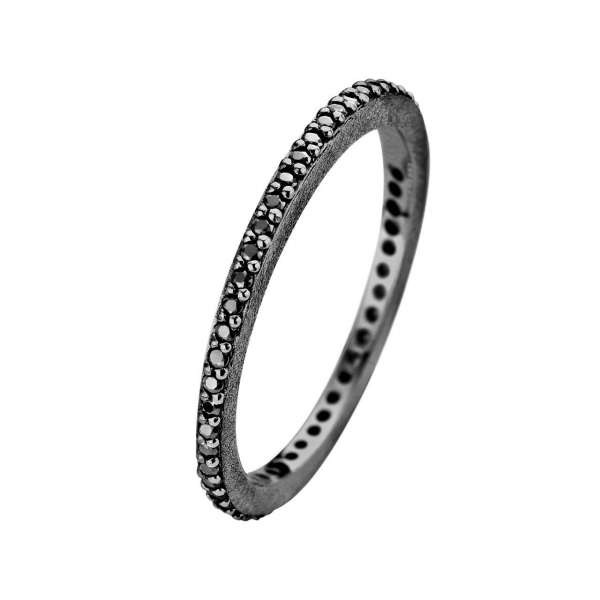 Ring Schwarz Zirkonia Rustic 1,5 mm Sterlingsilber