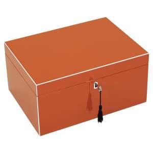 Schmuckbox m. Schloss orange/weiß