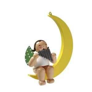 Engel m. Panflöte im Mond