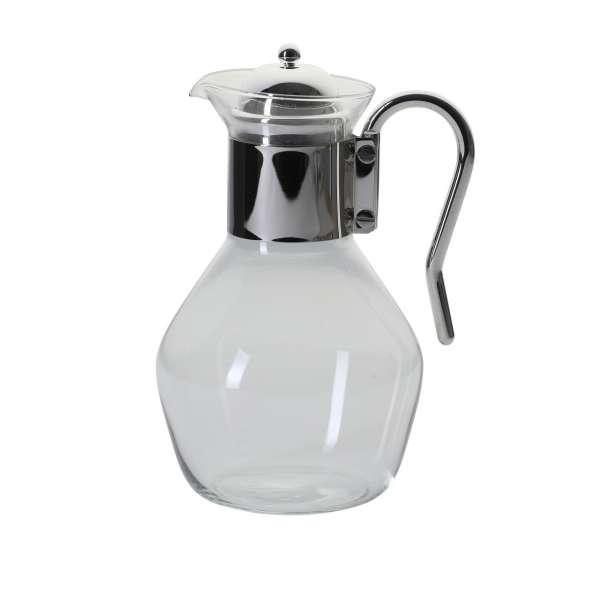 Glaskaraffe Silbergriff und Deckel