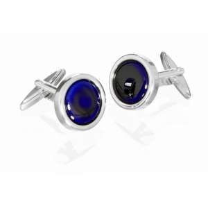 Manschettenknöpfe handbemaltes Porzellan blau Silber 925/-