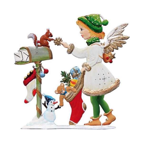 Engel mit Weihnachtsstrumpf 9x9 cm