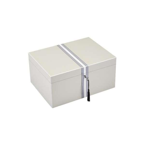 Schmuckbox L m. Streifen & Schloss flannel