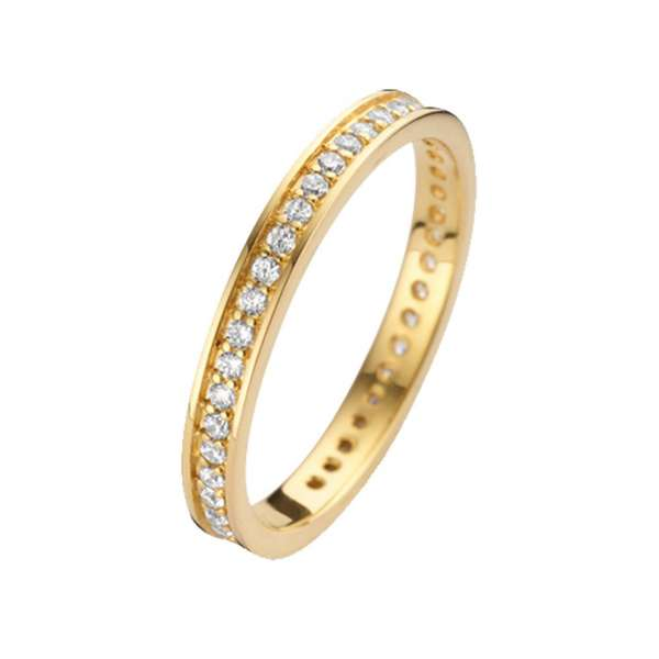 Ring Gold Zirkonia 2 mm Sterlingsilber