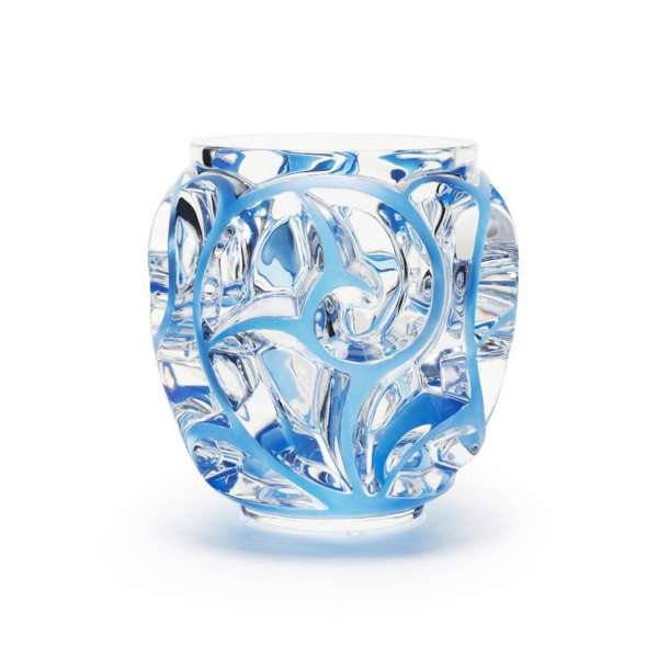 Vase Tourbillons 20,8 cm klar blau patiniert