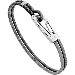 Armband M Edelstahl/Leder, grau
